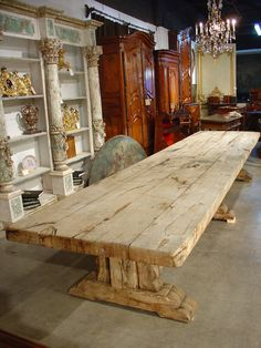 Massive Antique Stripped Oak Dining Table from France | From a unique collection of antique and modern dining room tables at https://www.1stdibs.com/furniture/tables/dining-room-tables/
