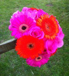 Bright orange and fuchsia bouquet