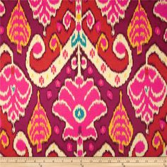 HGTV HOME Market Marvel Sateen Sunset from @fabricdotcom  Screen printed on cotton sateen; this lightweight fabric is very versatile. This fabric is perfect for window treatments (draperies, valances, curtains, and swags),  accent pillows, tote bags, aprons and upholstery. Colors include ivory, turquoise, yellow, hot pink and magenta. This fabric has 42,000 double rubs.