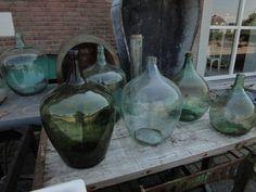 Oude glazen potten Frankrijk - Verschillende maten.