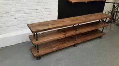 Industrial pipe and wood console table by PipeAndWoodDesigns