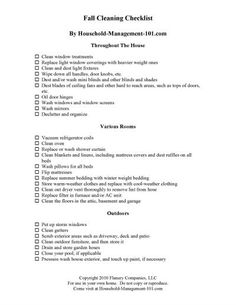 Free printable fall cleaning checklist, courtesy of Household Management 101