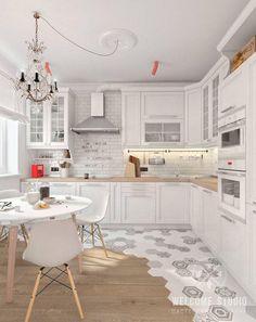 Skandynawska kuchnia od мастерская дизайна welcome studio skandynawski – My Home Design 2019 Home Decor Kitchen, Interior Design Kitchen, New Kitchen, Home Kitchens, Modern Interior, Kitchen Tiles, Kitchen Flooring, Kitchen Cabinets, Kitchen Colors