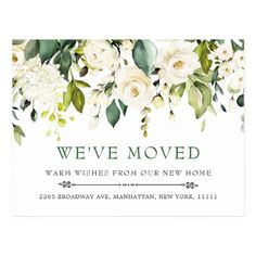 Ivory White Watercolor Flowers Moving Announcement Postcard   babyshower invitation, adress wedding invitations, wedding invitation information #invitationals #invitationbirthday #invitationbox, 4th of july party Bachlorette Invitations, Birthday Invitations, Wedding Invitations, Custom Stationery, Wedding Stationery, Custom Invitations, Moving Announcements, Announcement Cards, Moving Day