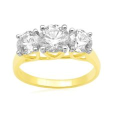 Madison Avenue Collection by Swarovski 10k Yellow Gold 3-Stone Round Swarovski Cubic Zirconia Ring (3 cttw) Amazon Curated Collection. $205.00. Made in India. 3 cttw diamond equivalent weight.. All Madison Avenue Swarovski Zirconia pieces are laser inscribed to guarantee quality and authenticity.
