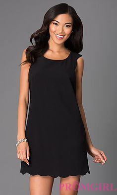 Short Sleeveless Black Shift Dress by City Triangles at PromGirl.com