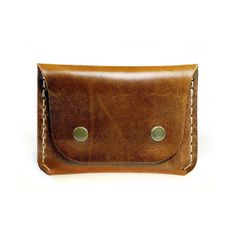 Handmade Leather Wallet Slim Flap wallet for credit cards and cash in chestnut brown leather