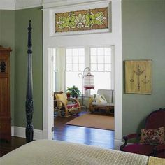 Stained glass transom - we have something similar but isn't stained glass... Hmm where to use it...
