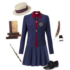 Ilvermorny Girl's Uniform by rissie-5 on Polyvore featuring RED Valentino, HUGO, H&M, New Look, Twig, Montegrappa, French Toast, Ash, Thunderbird and ilvermorny