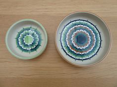 2 nice 1970 s Hornsea Muramic pin dishes sized 12cm & 8.5cm diameter
