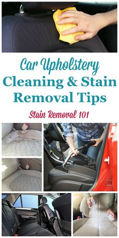 Here is a round up of car upholstery cleaning tips and stain removal hints, to keep your auto interior clean on a regular basis and if a mess or spill occurs on Stain Removal 101 Car Cleaning Hacks, Deep Cleaning Tips, Toilet Cleaning, House Cleaning Tips, Spring Cleaning, Car Hacks, Cleaning Interior Of Car, Cleaning Inside Of Car, Cleaning Car Upholstery