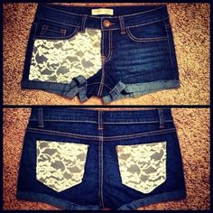 DIY Lace Shorts | DIY lace shorts by VelleVet. Doing the lace on the back pockets would look so cute on longer shorts!