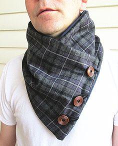 Men's wool cowl collar scarf- plaid wool-Men's scarf-fleece lined. on Etsy, $32.98