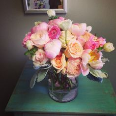 Pink, peach and white arrangement