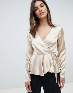 Browse online for the newest ASOS DESIGN long sleeve wrap top in satin with pephem styles. Shop easier with ASOS' multiple payments and return options (Ts&Cs apply). Fashion Line, Hijab Fashion, Korean Fashion, Fashion Outfits, Long Sleeve Wrap Top, Satin Top, Satin Blouses, Blouse Outfit, Blouse Designs