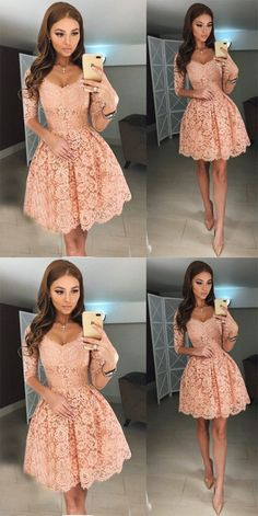 homecoming dresses,homecoming dress, pink homecoming dress,short homecoming dress · HerDresses · Online Store Powered by Storenvy Lace Homecoming Dresses, Hoco Dresses, Dance Dresses, Pretty Dresses, Beautiful Dresses, Long Sleeve Dresses, Blush Bridesmaid Dresses Short, Homecoming Outfits, Pink Formal Dresses