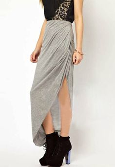 Fashion Slit Hem Asymmetry Bust Skirt