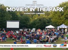 Woodstock, GA - Free outdoor movies in downtown Woodstock Ga in 2015.