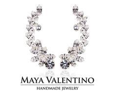 Crystal ear cuff Climbing earrings Silver ear by MayaValentino Clip On Earrings, Women's Earrings, Silver Earrings, Bridesmaid Jewelry, Bridesmaid Gifts, Climbing Earrings, Jewelry Model, Selling Jewelry, Designer Earrings