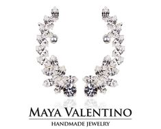 Crystal ear cuff Climbing earrings Silver ear by MayaValentino