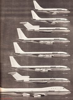 Boeing airline fleet 1970s