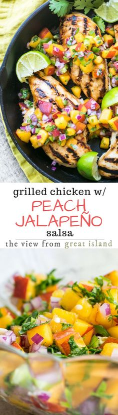 Grilled Chicken with Peach Jalapeño Salsa ~ this lightning quick meal is low calorie, low fat, low carb, gluten free, Whole 30 and Paleo compliant, and Weight Watchers friendly.  Or, to put it another way, it's healthy and insanely delicious. | grilling | poultry | skinless boneless chicken | dinner | 30 minute meal | stone fruit | fruit salsa |