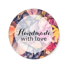 Handmade With Love Floral Roses Modern Chic Classic Round Sticker Florist Craft Marketing by Cyan Sky Design on @zazzle