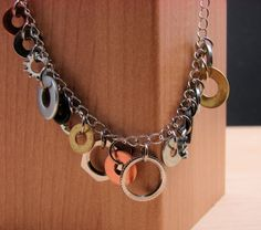 Statement Necklace Mixed Metal Hardware Jewelry Industrial Washers Charm Chain. $20.00, via Etsy.