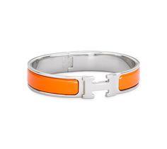 "Clic H Hermes narrow bracelet Orange enamel<br />Silver and palladium plated hardware, 2.5"" diameter, 8"" circumference, 0.5"" wide"