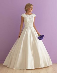 wedding dress, wedding, allure bridals, ballgown, cap sleeve dress, sheer back, satin, lace