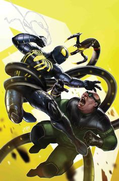 Marvel's Spider-Man: City at War variant cover - Doc Ock by Tim Tsang * Amazing Spiderman, All Spiderman, Marvel Comics, Marvel Vs, Marvel Heroes, Comic Book Characters, Comic Books Art, Comic Art, Book Art