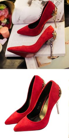Gorgeous Look 2017 Women Eleglant Red Stiletto Shoes Lady Wedding Shoes Dress Shoes Female Metallic High Heeled Ornate Pumps