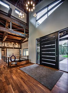 Clean Lines & Serious Style in Alberta, Canada | This modern mountain design blends age-old timber frame construction with contemporary angles.