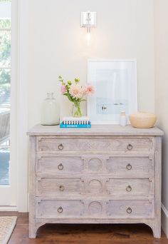 White oak dresser. Distressed white oak dresser. #WhiteOak #Dresser Braun + Adams Interiors.