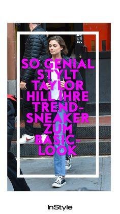 Supermodel Taylor Hill zeigt uns, wie man angesagte Sneaker ganz einfach und schlicht stylen kann. Wir lieben ihren Look #instyle #instylegermany #mode #modetrend #schuhe #schuhtrend #sneaker #model #starstyle #taylorhill