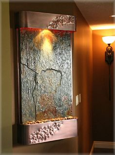 Show your bold and confident side with this transformational piece of wall art. The Serenity Falls Wall Fountain is truly amazing. The size. Indoor Floor Fountains, Small Fountains, Water Fountains, Outdoor Fountains, Tabletop Water Fountain, Diy Fountain, Indoor Fountain, Indoor Waterfall Wall, Modern Southwest Decor