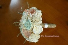 Wedding Bouquet Sola wood Bouquet Burlap by TheBloomingCorner, $115.00 I love this!!!!