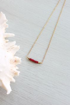 Ruby necklace - Precious gemstone bar ruby necklace - Tiny ruby bead bar necklace - Real genuine ruby necklace - July birthstone necklace