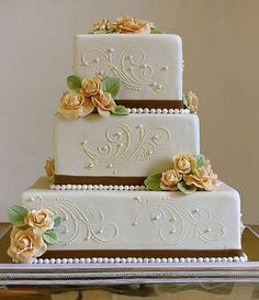 Simple rectangle wedding cake