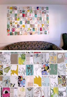 This artwork/wall collage was made with wallpaper samples!! So unique, yet so simple. Click the link to find out other ideas on what to do with leftover wallpaper or samples. This would also be great with a rustic wood frame around it for contrast. Think of the possibilities. You could also do with various scrapbook paper or fabric <3