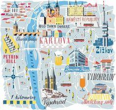 wanderlust illustration Anna Simmons - Prague Map for National Geographic Prague Map, Prague Old Town, Prague Travel, Travel Maps, Travel Posters, Prague Castle, Prague Christmas, Prague Winter, Christmas Markets