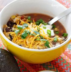 Crock Pot Chicken Enchilada Soup- this soup is easy to make and perfect for cold winter nights