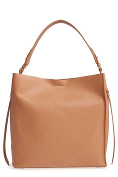 ALLSAINTS Paradise North/South Leather Tote in Light Caramel