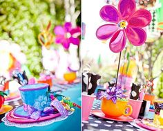 Alice In Wonderland Party {Guest Feature} — Celebrations at Home Alice In Wonderland Crafts, Alice In Wonderland Tea Party, Mad Hatter Party, Mad Hatter Tea, At Home Crafts For Kids, Girls Tea Party, Party Centerpieces, Party Guests, Holidays And Events