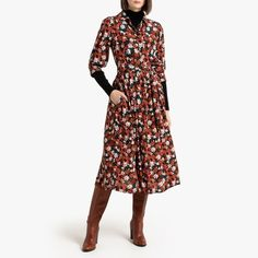 Floral Print Midi Shirt Dress with Pockets and Long Sleeves Knee Length Dresses, Day Dresses, Short Dresses, Dresses With Sleeves, Boho Midi Dress, Midi Shirt Dress, Robes D'inspiration Vintage, Look Chic, Manga