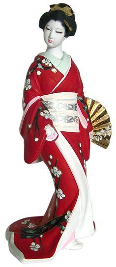 JAPANESE HAKATA DOLLS | Geisha dansing with golden fan, Japanese Hakata Doll. The Japonic ...