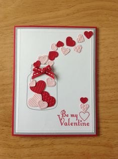 Stampin Up handmade valentine day card - heart in a jar on Etsy, $4.00