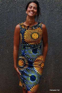 African Print Dress with Ruffle Collar
