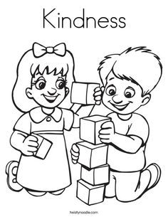 kindness coloring page twisty noodle friendship theme preschoolteaching - Friendship Coloring Pages For Preschool