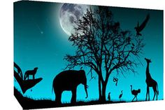 african animals in duck egg blue canvas picture | Duck Egg Blue Animals Silhouette Canvas Wall Art Picture Print- All ...